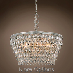 Teardrop Glass Chandelier 6 Light 28