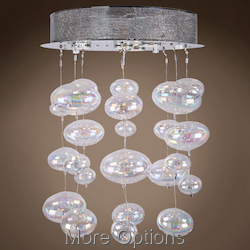 JM Bubbles 4 Light Flush Mount Chandelier Light In Chrome
