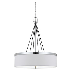 CAL Lighting 60W X 3 Rimini Pendant Fixture With Hardback Fabric Shade