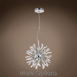 JM Limited Edition Polished Chrome 7 Light Pendant With Crystal Accent