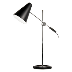 Dainolite 1Lt Adjustable Table Lamp, Black & Polished Chrome