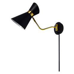 Dainolite 1Lt Wall Lamp, Black & Vintage Bronze Finish