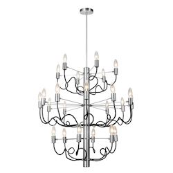 Dainolite 24Lt Chandelier, Satin Chrome & Matte Black Finish