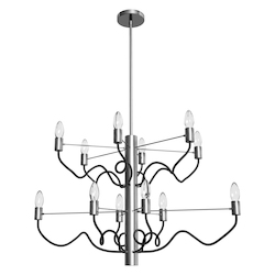 Dainolite 12Lt Oval Chandelier, Satin Chrome & Matte Black