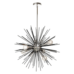 Dainolite 8Lt Pendant, Matte Black & Polished Chrome Finish