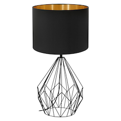 Eglo 1x40W Table Lamp w/ Matte Black Finish & Black & Gold Shade