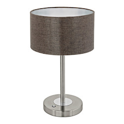 Eglo 1x12W Table Lamp w/ Stain Nickel/Chrome Finish & Brown Linen Shade