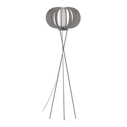 Eglo 1x60W Floor Lamp w/ Matte Nickel Finish & Grey Wood Shade & Whihte  Glass