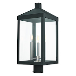 Livex Lighting 3 Lt Bk Outdoor Post Top Lantern