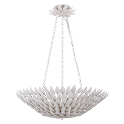 Crystorama Broche 6 Light Matte White Pendant Chandelier