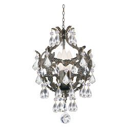 Crystorama Legacy 3 Light Clear Swarovski Strass Crystal Bronze Mini Chandelier