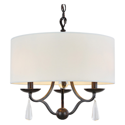 Crystorama Manning 3 Light Bronze Leaf Mini Chandelier