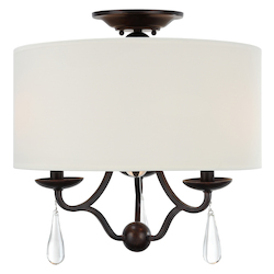 Crystorama Manning 3 Light Bronze Leaf Ceiling Mount