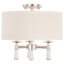 Crystorama Baxter 3 Light Polished Nickel Ceiling Mount