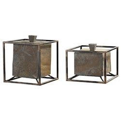 Uttermost Slate Cube Boxes S/2