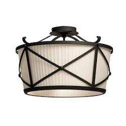 Artcraft Two Light Black Drum Shade Semi-Flush Mount