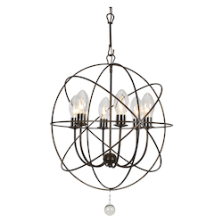 Crystorama SOL-9326-EB Crystorama Solaris Outdoor 6 Light Bronze Sphere Chandelier
