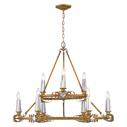 Golden 2 Tier - 9 Light Chandelier