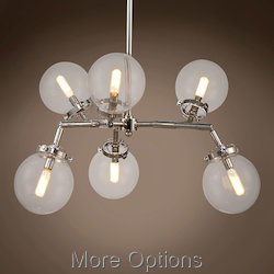 Bistro Globe Clear Glass 6 Light 36