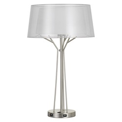 CAL Lighting 100W Lawton Metal Desk Lamp With Translucent Shade And 2 Usb Ports