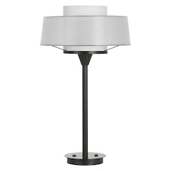 CAL Lighting 100W Pana Metal Table Lamp With Translucent Shade And 2 Usb Ports