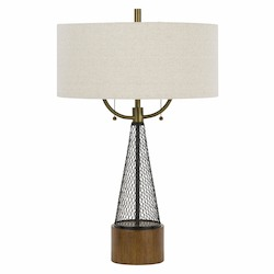 CAL Lighting 60W X 2 Lapeer Metal Mesh/Wood Table Lamp With Hardback Burlap Shade