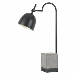 CAL Lighting 60W Beaumont Metal Desk Lamp With Cement Base 1 Electrical Outlet And 2 Usb Out