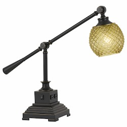 CAL Lighting 60W Brandon Metal Desk Lamp With Glass Shade And 2 Usb Outlets