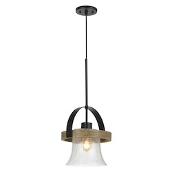 CAL Lighting 60W Bell Metal/Wood Pendant Fixture With Bubbled Glass Shade