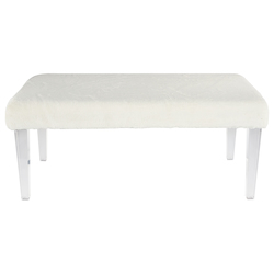 Elegant Decor AF1001 40 Inch Faux Fur Bench In White