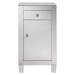 Elegant Decor MF6-1035 1 Drawer 1 Door Cabinet 18 In. X 12 In. X 32 In. In Clear Mirror
