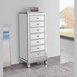 Elegant Decor MF72047 Lingerie Chest 7 Drawers 18In. W X 15In. D X 42In. H In  Antique Silver Paint
