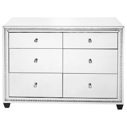 Elegant Decor MF91011 47 Inch Crystal Six Drawers Cabinet In Clear Mirror Finish