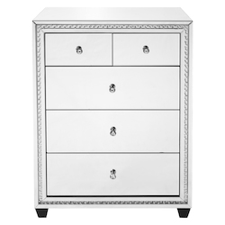 Elegant Decor MF91013 31.5 Inch Crystal Five Drawers Cabinet In Clear Mirror Finish