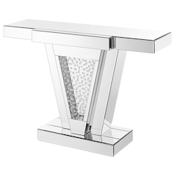 Elegant Decor MF91014 47 Inch Rectangle Crystal Console Table In Clear Mirror Finish
