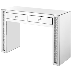 Elegant Decor MF91017 47 Inch Rectangle Crystal Vanity Table In Clear Mirror Finish