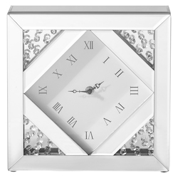 Elegant Decor MR9118 Sparkle 10 In. Contemporary Crystal Square Table Clock In Clear
