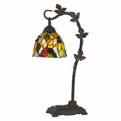 CAL Lighting 60W Cotulla Down Bridge Tiffany Metal Table Lamp