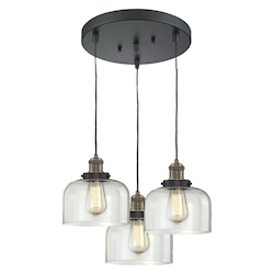 Innovations Lighting 3 Light Adjustable Cord Pan Chandelier With Glass