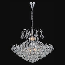 Crystal World 9 Light Down Chandelier With Chrome Finish