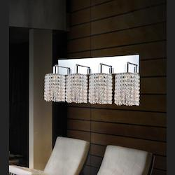 Crystal World 4 Light Vanity Light With Chrome Finish