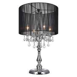 Crystal World 4 Light Table Lamp With Chrome Finish