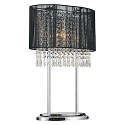 Crystal World 1 Light Table Lamp With Chrome Finish