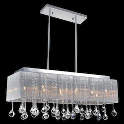 Crystal World 10 Light Drum Shade Chandelier With Chrome Finish