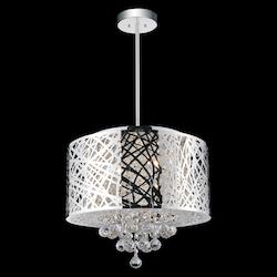 Crystal World 6 Light Drum Shade Chandelier With Chrome Finish