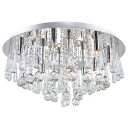 Crystal World 12 Light  Flush Mount With Chrome Finish