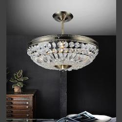 Crystal World 4 Light Down Chandelier With Antique Brass Finish