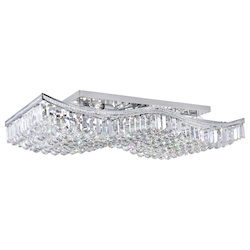 Crystal World 18 Light  Flush Mount With Chrome Finish