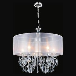 Crystal World 8 Light Drum Shade Chandelier With Chrome Finish
