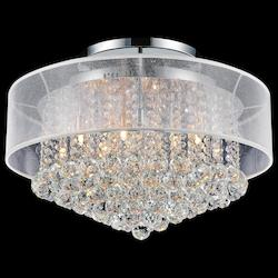 Crystal World 12 Light Drum Shade Flush Mount With Chrome Finish